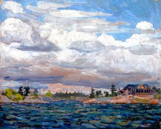 Tom Thomson. Cottage on a Rocky Shore, 1914. Oil on wood, mounted on plywood, (21.6 x 26.7 cm). NGC no. 4665