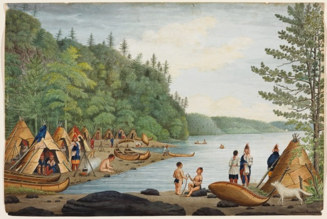 A View near Point Levy opposite Quebec with an Indian Encampment