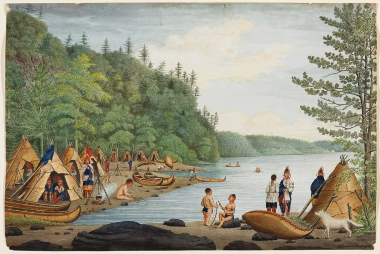 Thomas Davies. A View near Point Levy opposite Quebec with an Indian Encampment, Taken in 1788, 1788. Watercolour over graphite on laid paper, (35.1 x 52.5 cm). NGC no. 6280