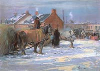Franklin Brownell. Hay Sleds, Byward Market, Ottawa, 1916. Pastel on brown wove paper (28 x 37.8 cm). NGC no. 1434