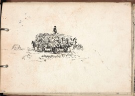 Homer Watson. Hay Wagon, date unknown, purchased 1962. Pen and black ink on wove paper, (14.4 x 20.8 cm) NGC no. 7892.10r.