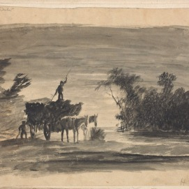 Homer Watson. Sketchbook T Hay Wagon, Date Unknown. Drawing, (16.7 x 26.7 cm). NGC accession no. 7892.1-39