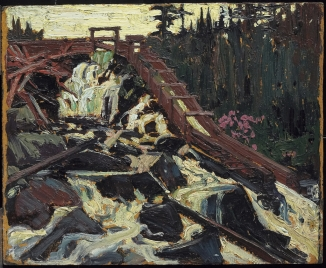 Tom Thomson. Timber Chute, 1915. Oil on composite wood-pulp board, (21.6 x 26.7 cm). NGC no. 4674