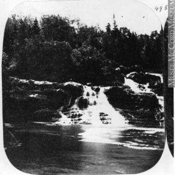 William Notman, Old Mill Fall, Riviére du Loup, QC, about 1860. Silver salts on paper mounted on card - Albumen process, (7.3x7cm). McCord Museum N-0000.193.92.1