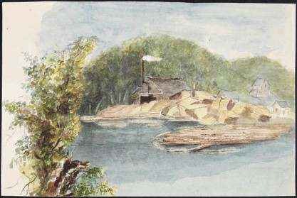 Sawmill at Port Carling, Muskoka, 1885. Watercolour with touches of gouache over pencil on wove paper (20.4 x 13.5 cm). LAC R9266