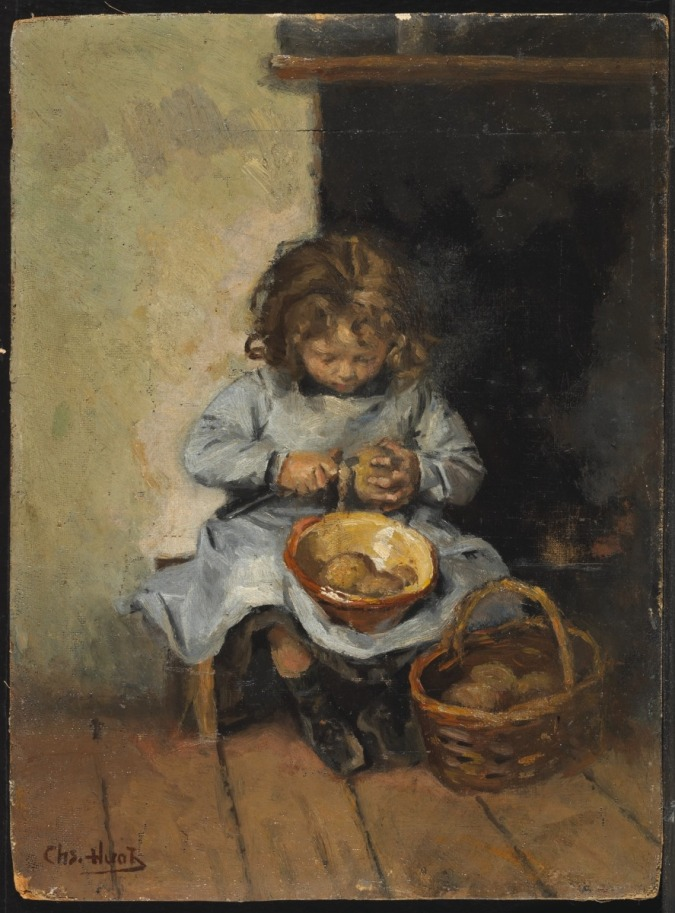 Charles Huot. The Potato Peeler, date unknown. Oil on canvas (32.6 x 24.1 cm). NGC no. 37779
