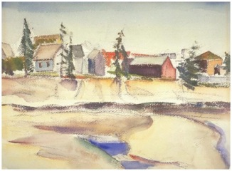 Jack Humphrey. Village, Grand Manan, 1936. Watercolour over charcoal on wove paper, (27.9 x 38.2 cm). NGC no. 16596
