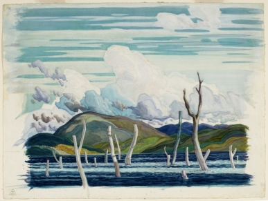 Franklin Carmichael. Wabajisik: Drowned Land, 1929. Water colour on gouache over charcoal on wove paper, (51.8 x 69.8 cm). NGC no. 37158