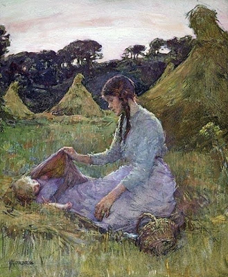 Elizabeth Adela Forbes. A Woman and Child in a Hay Field, 1910. Watercolour over charcoal on wove paper, mounted on linen, (64 x 53.3 cm). NGC no. 1288