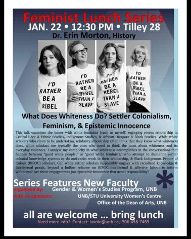 Erin Morton UNB Feminist Lunch Series Poster